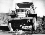 First truck driving the Alcan from Dawson Creek to Whitehorse, 1942.