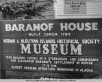 Sign on Baranof House, Kodiak, Alaska.