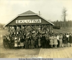Students at Eklutna Vocational School train station.