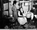 Klawock. Mrs. Mary Dowit with daughter and granddaughter. 1938.