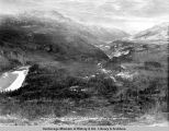 Looking south up Nenana River canyon, mile 357. Oct. 1/1920.