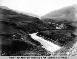 Looking west from lower end of Nenana River canyon, above Healey [sic] Fork near mile 360. Gov't...