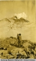 W. A. Hesse taking moving pictures of Katmai volcano.