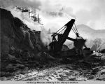 Loading rocks with steam shovel. Mile 83 - A.E.C. R[ail]w[ay]. Turn[again]-Arm Div[ision].