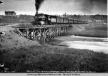 Regular train leaving Anchorage with shriners bound for Fairbanks. 8-17-1922.