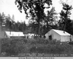 Station gang camp. Mile 249. Miss E. Swansen - the only woman contractor on the Gov[ernmen]t...