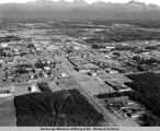 Aerial view of midtown Anchorage, looking east.