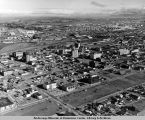 Aerial view of Anchorage, Alaska looking norht [sic] east toward Alaska Railroad yards and...