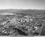 Aerial view of Anchorage from Elmendorf Air Force Base and the railroad yards to 9th Avenue.