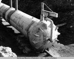 Pipe head for hydro test and cleaning by pig. Appears to be between Franklin Bluffs and Pump...