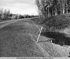 Haul Road just north of Hess Creek, at this time about 18 months old, shows permafrost settlement.