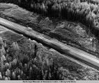 Air [view] of Haul Road at survey sta[tion] 350 0400, north of Hess Creek several miles shows...