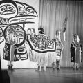 Chilkat dancers - showing Chilkat blanket.