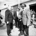 Gov. W[illia]m A Egan speaks w[ith] union members, Electrical training school in Muldoon area.