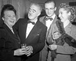 Left: Mildred Hansen, Sen MacKenzie - Juneau, Rep Wendell Kay - Anch[orage], & Mrs Fisher.