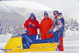 Sen. Ted Stevens [right], R.E. Atwood [left], Rob't Denney [center], at Alyeska snow machining.