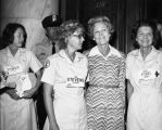 Left of Pat Nixon, Ann Stevens wife of Sen. Ted Stevens, Alaska. Ex[treme] left - Mrs. Tower, wife...