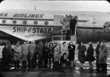 Taken at Juneau: large group in front of Ship of State on way to Wash[ington], D.C. to testify on...