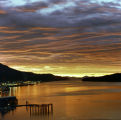 Sunrise over the Tongass Narrows along which city of Ketchikan lies.