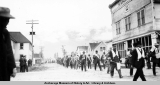 Marchers in 4th of July parade, Valdez, 1913.
