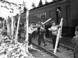 Skiers offloading train at Grandview