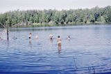 Children swimming in Flathorn Lake.