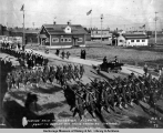 Parade held in honor of recruits about to depart for their training stations, Anchorage, Alaska,...