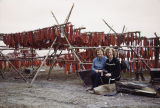 Cora Hoffman and Vi Redington in front of Knik fish camp.