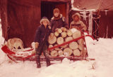 Tim Redington, Joe Redington Jr., and Teddy Saccheus hauling wood at Flathorn Lake.