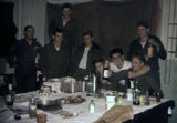 Group of Army Reclamation crew at dinner.