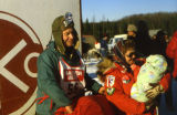 Start of Iditarod at Willow - Joe & Vi holding Ray Janet Baby.