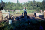Susan Butcher in the dog yard.