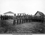 Co. B, 21st U.S. Inf[an]t[ry] on parade, Anchorage, Alaska, July 4th, 1920.