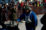 Joe Redington Sr. finishing the Iditarod Trail Sled Dog Race.