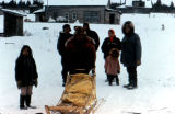 Musher at checkpoint during the Iditarod Trail Sled Dog Race.