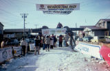 Sign to welcome Burt Bomhoff to the end of the 1984 Iditarod Trail Sled Dog Race in Nome.