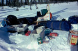 Joe Redington Sr.'s dog sled and camping gear spread out during the 1978 Iditarod Trail Sled Dog...