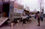 Joe Redington Sr.'s dog team and dog truck at the Iditarod Race headquarters dedication.