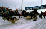Joe Redington Sr. departs the start line of the 1976 Iditarod Trail Sled Dog Race from Mulcahy...