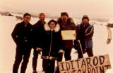 Five people announce the Iditarod Checkpoint of Ophir.