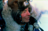 Joe Redington Sr., being interviewed in Nome after completing the Iditarod Trail Sled Dog Race.