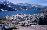View from the top of a mountain during Joe Redington Sr.'s trip on the Chilkoot Trail.