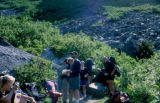 Group taking a break during a day on the Chilkoot Trail.