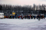Start of the 1976 Iditarod Trail Sled Dog Race on Knik Lake.