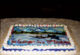Joe Redington Sr.'s birthday cake on his 78th birthday, at Manley Resort on the 1995 Commemorative...