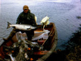 Man holds a king salmon.