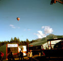 Alaska State Fair in Palmer, with hot air balloon in sky.