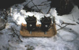 Joe Redington Sr.'s experimental stove system for the Iditarod Trail Sled Dog Race.