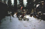Three people stand next to two dog sleds outside.