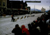 Joe Redington Jr. races in the 1966 Fur Rendezvous sprint race in Anchorage.